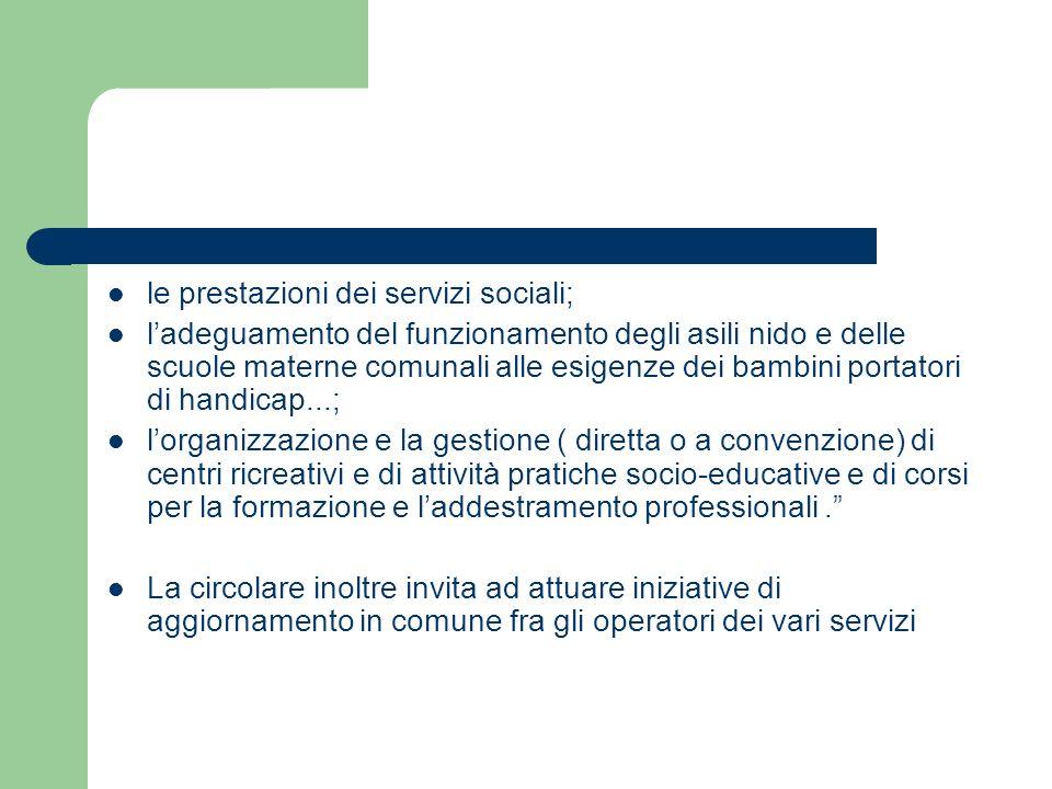 le prestazioni dei servizi sociali; ladeguamento del funzionamento degli asili nido e delle scuole materne comunali alle esigenze dei bambini portator