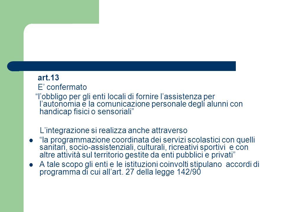 art.13 E confermato lobbligo per gli enti locali di fornire lassistenza per lautonomia e la comunicazione personale degli alunni con handicap fisici o