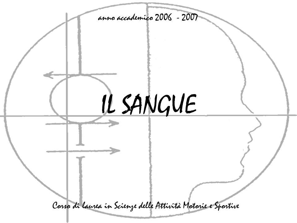IL SANGUE anno accademico 2006 - 2007 Corso di laurea in Scienze delle Attività Motorie e Sportive
