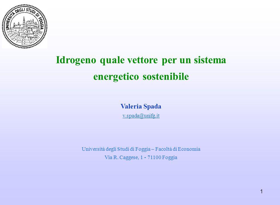 1 Idrogeno quale vettore per un sistema energetico sostenibile Valeria Spada v.spada@unifg.it Università degli Studi di Foggia – Facoltà di Economia V