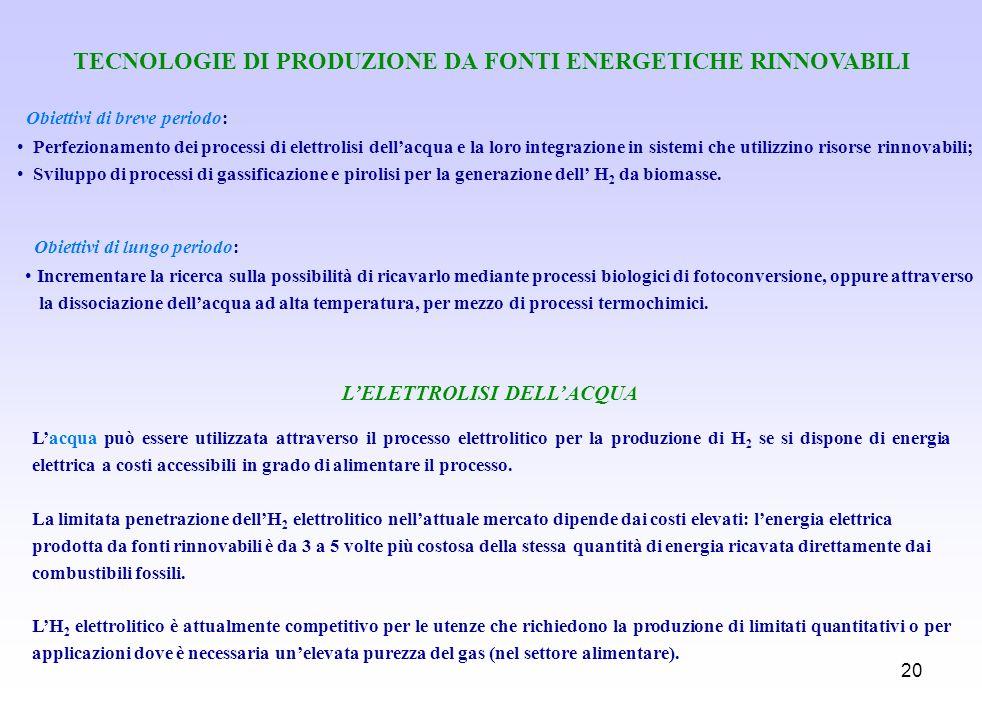 20 TECNOLOGIE DI PRODUZIONE DA FONTI ENERGETICHE RINNOVABILI Obiettivi di breve periodo: Perfezionamento dei processi di elettrolisi dellacqua e la lo