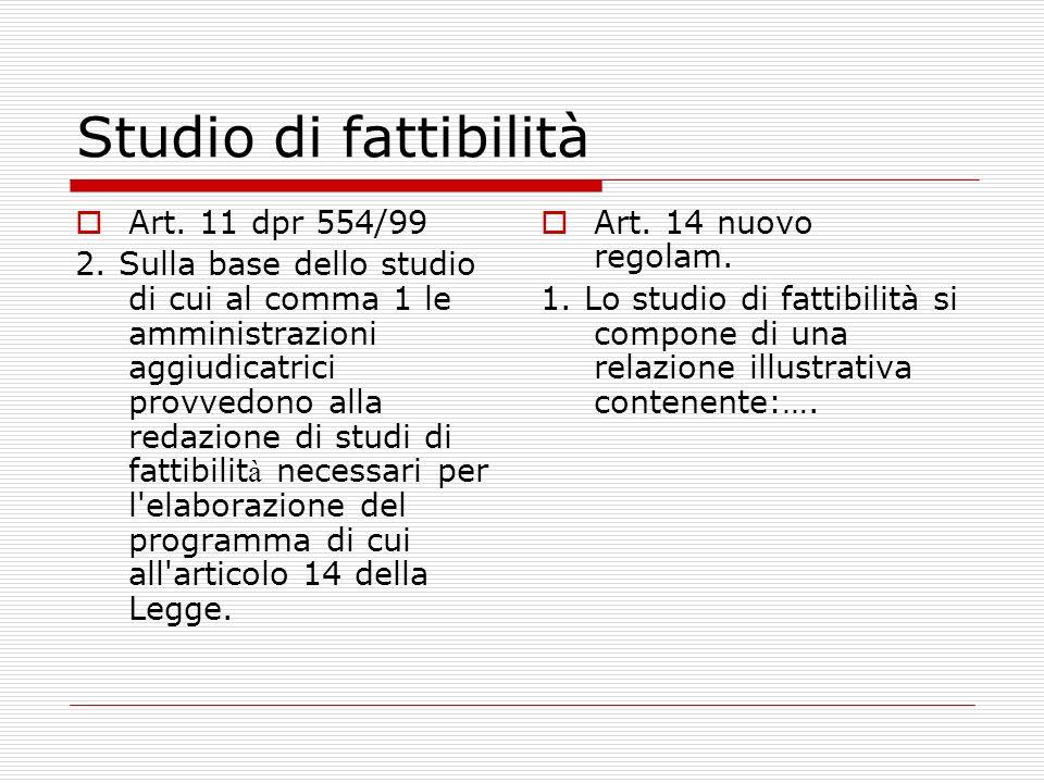 Studio di fattibilità Art. 11 dpr 554/99 2.