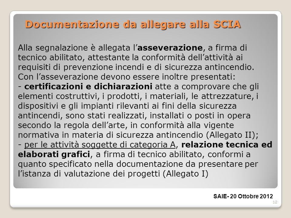 12 Documentazione da allegare alla SCIA Alla segnalazione è allegata lasseverazione, a firma di tecnico abilitato, attestante la conformità dellattivi