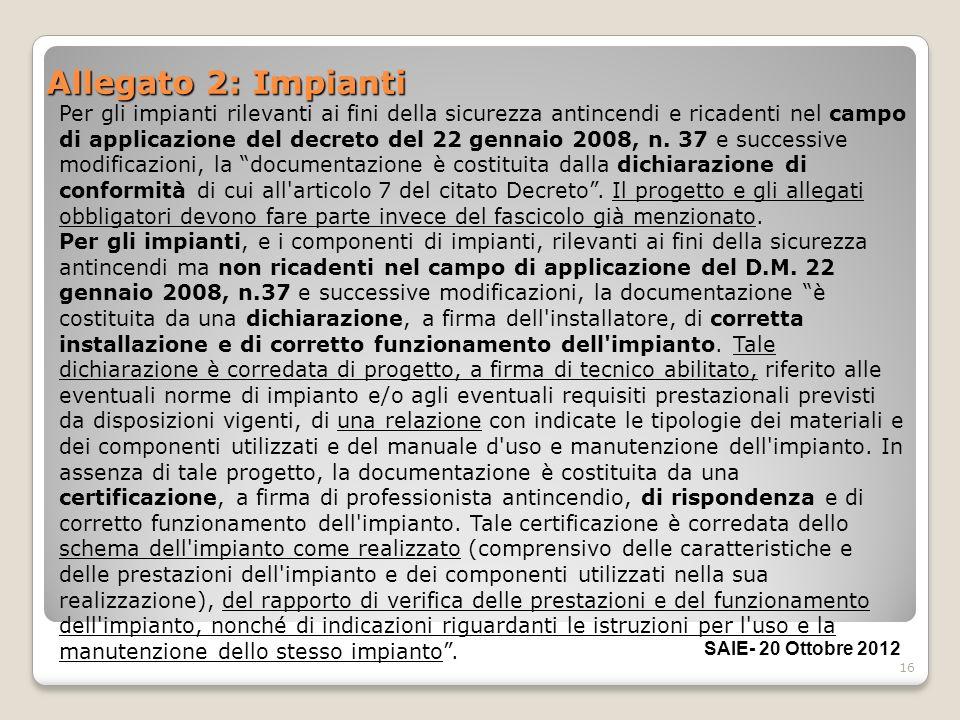 16 Allegato 2: Impianti Per gli impianti rilevanti ai fini della sicurezza antincendi e ricadenti nel campo di applicazione del decreto del 22 gennaio
