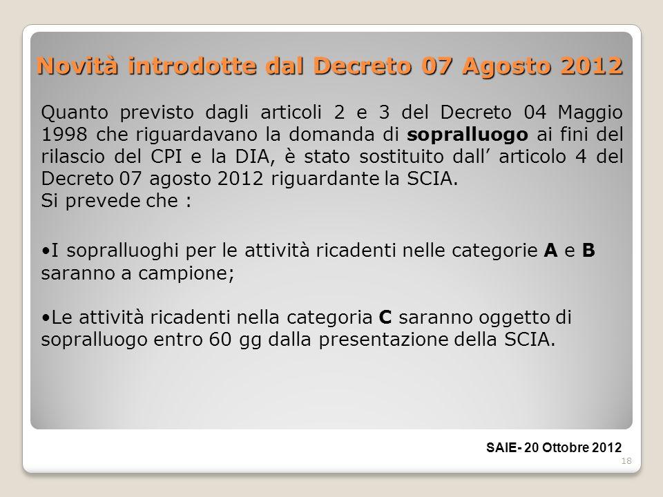 18 Novità introdotte dal Decreto 07 Agosto 2012 I sopralluoghi per le attività ricadenti nelle categorie A e B saranno a campione; Le attività ricaden