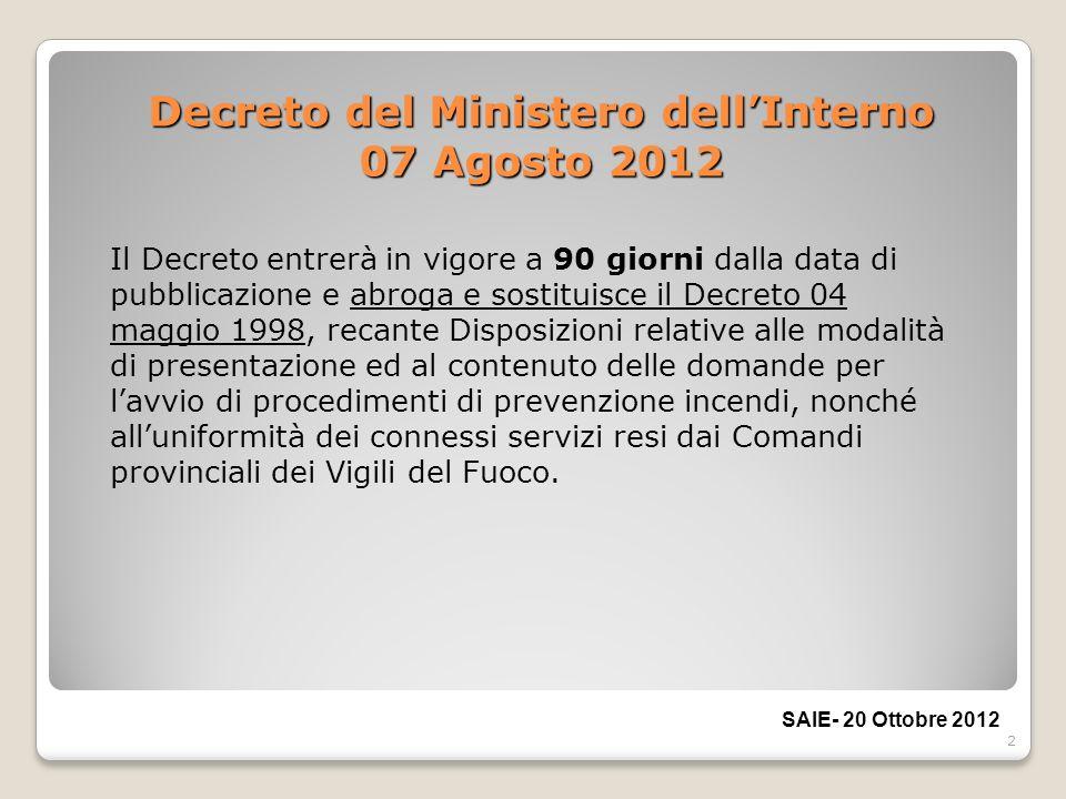 2 Decreto del Ministero dellInterno 07 Agosto 2012 Il Decreto entrerà in vigore a 90 giorni dalla data di pubblicazione e abroga e sostituisce il Decr