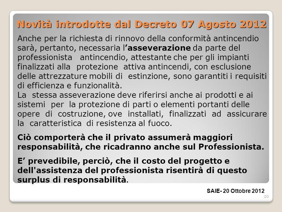 20 Novità introdotte dal Decreto 07 Agosto 2012 Anche per la richiesta di rinnovo della conformità antincendio sarà, pertanto, necessaria lasseverazio