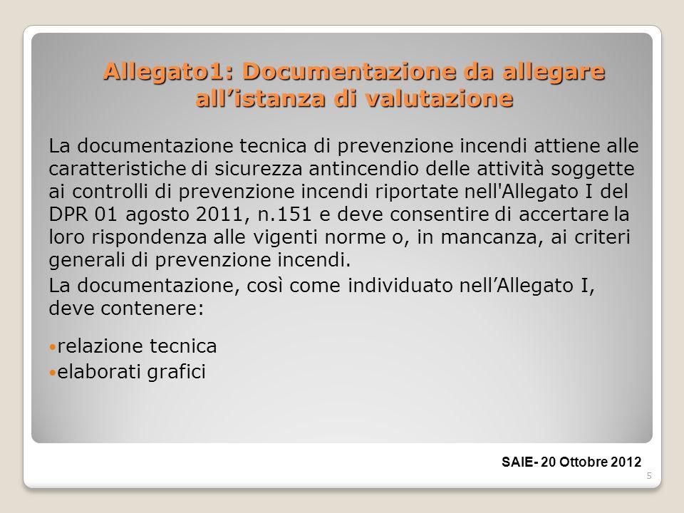 5 Allegato1: Documentazione da allegare allistanza di valutazione La documentazione tecnica di prevenzione incendi attiene alle caratteristiche di sic