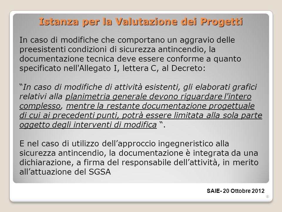 8 Istanza per la Valutazione dei Progetti In caso di modifiche che comportano un aggravio delle preesistenti condizioni di sicurezza antincendio, la d