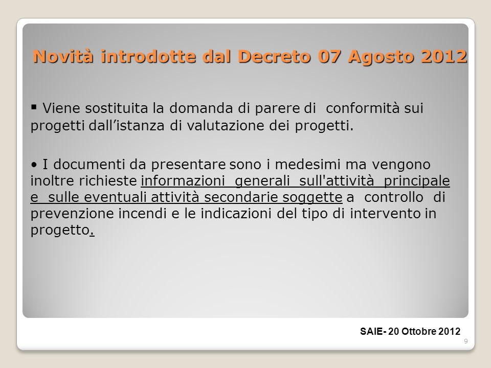 9 Novità introdotte dal Decreto 07 Agosto 2012 Viene sostituita la domanda di parere di conformità sui progetti dallistanza di valutazione dei progett