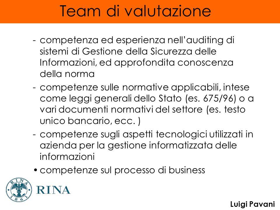Luigi Pavani Team di valutazione -competenza ed esperienza nellauditing di sistemi di Gestione della Sicurezza delle Informazioni, ed approfondita con
