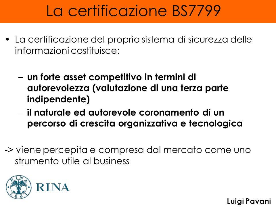 Luigi Pavani La certificazione BS7799 La certificazione del proprio sistema di sicurezza delle informazioni costituisce: – un forte asset competitivo in termini di autorevolezza (valutazione di una terza parte indipendente) – il naturale ed autorevole coronamento di un percorso di crescita organizzativa e tecnologica -> viene percepita e compresa dal mercato come uno strumento utile al business
