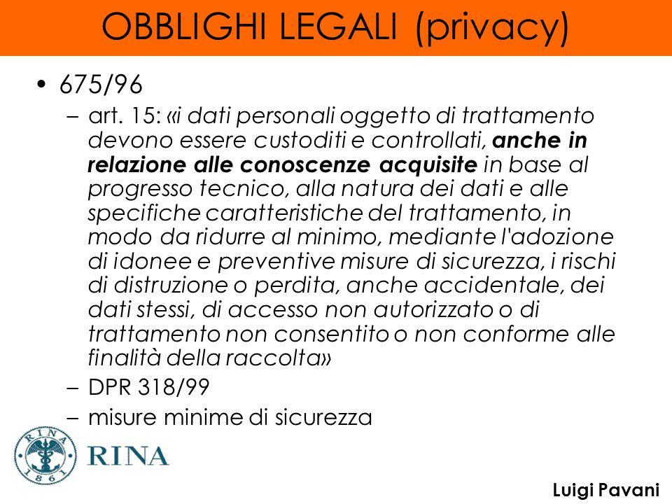 Luigi Pavani OBBLIGHI LEGALI (privacy) 675/96 –art. 15: «i dati personali oggetto di trattamento devono essere custoditi e controllati, anche in relaz