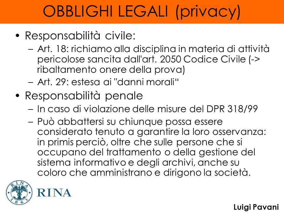 Luigi Pavani OBBLIGHI LEGALI (privacy) Responsabilità civile: –Art. 18: richiamo alla disciplina in materia di attività pericolose sancita dall'art. 2