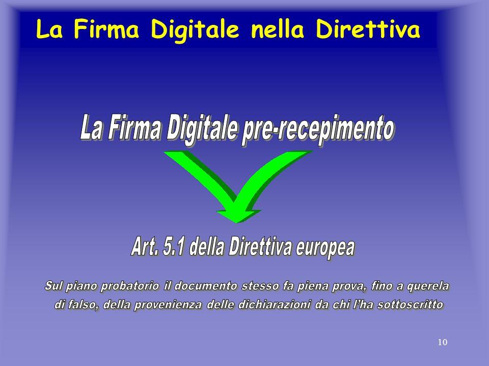 10 La Firma Digitale nella Direttiva