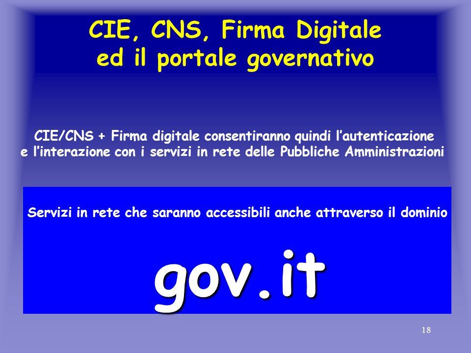 18 CIE, CNS, Firma Digitale ed il portale governativo CIE/CNS + Firma digitale consentiranno quindi lautenticazione e linterazione con i servizi in re