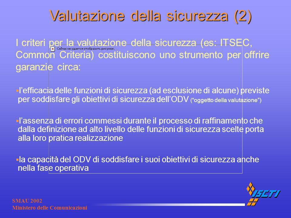 SMAU 2002 Ministero delle Comunicazioni Valutazione della sicurezza (2) Valutazione della sicurezza (2) I criteri per la valutazione della sicurezza (