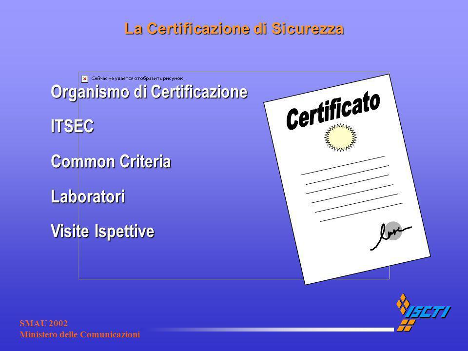 SMAU 2002 Ministero delle Comunicazioni La Certificazione di Sicurezza Organismo di Certificazione ITSEC Common Criteria Laboratori Visite Ispettive