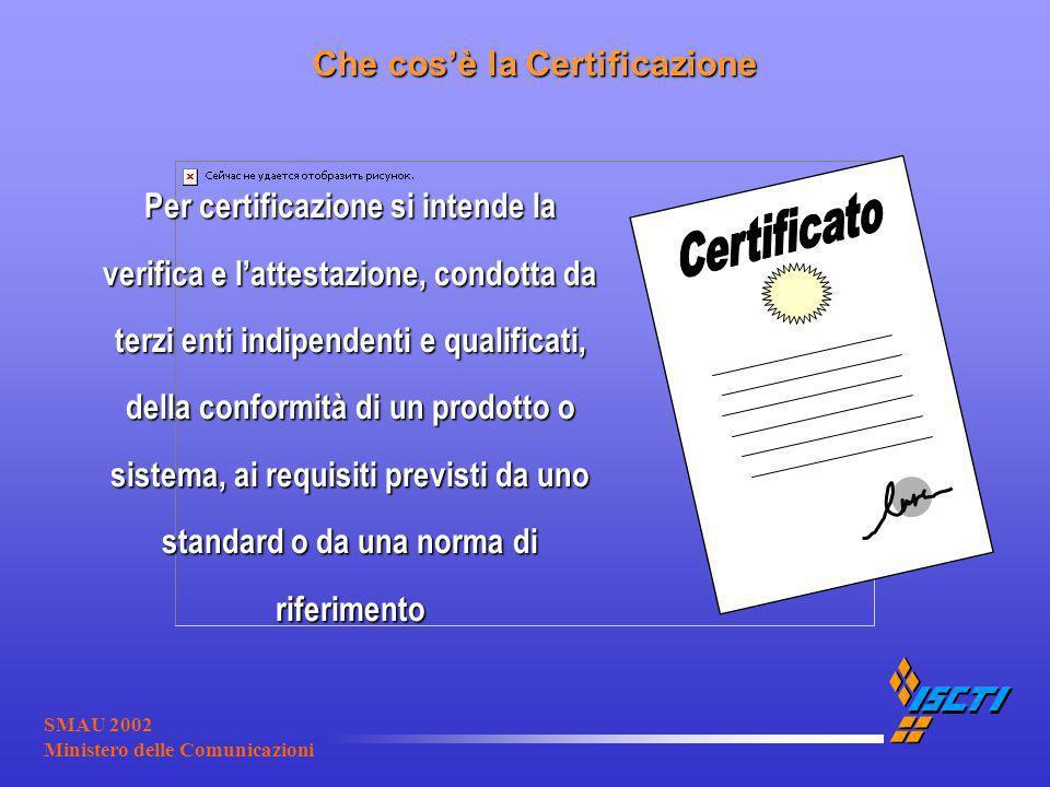 SMAU 2002 Ministero delle Comunicazioni Che cosè la Certificazione Per certificazione si intende la verifica e lattestazione, condotta da terzi enti i