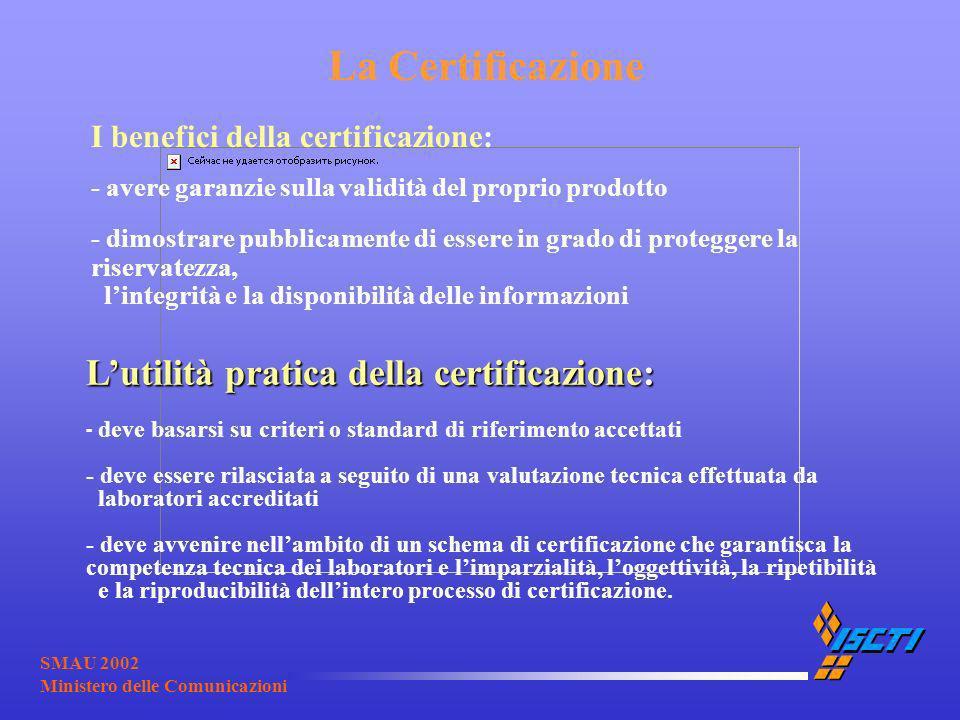 SMAU 2002 Ministero delle Comunicazioni La Certificazione Lutilità pratica della certificazione: Lutilità pratica della certificazione: - deve basarsi