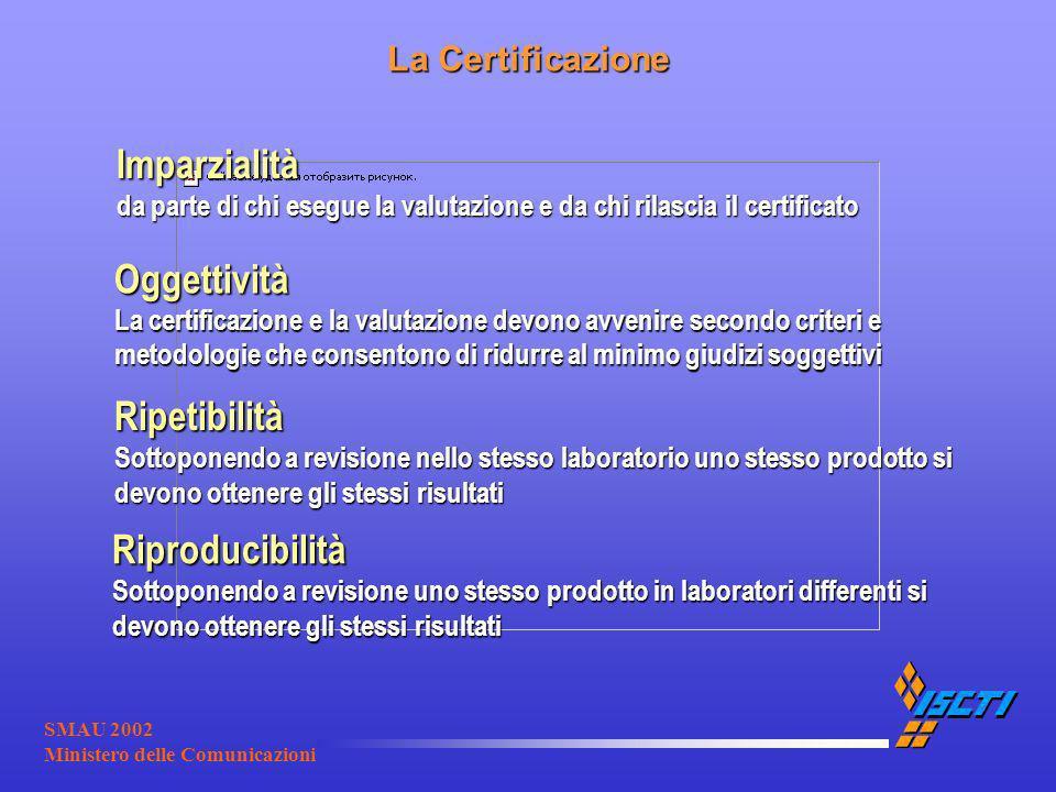 SMAU 2002 Ministero delle Comunicazioni La Certificazione Oggettività La certificazione e la valutazione devono avvenire secondo criteri e metodologie