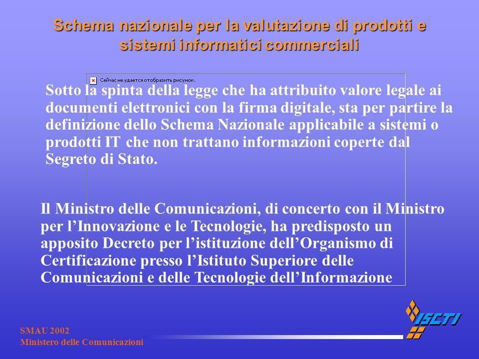 SMAU 2002 Ministero delle Comunicazioni Schema nazionale per la valutazione di prodotti e sistemi informatici commerciali Sotto la spinta della legge