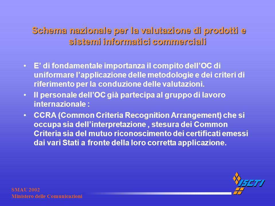 SMAU 2002 Ministero delle Comunicazioni Schema nazionale per la valutazione di prodotti e sistemi informatici commerciali Schema nazionale per la valu