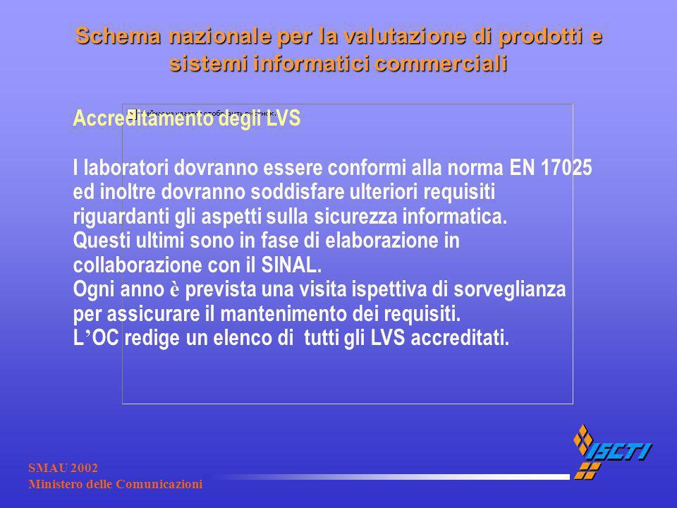 SMAU 2002 Ministero delle Comunicazioni Accreditamento degli LVS I laboratori dovranno essere conformi alla norma EN 17025 ed inoltre dovranno soddisf