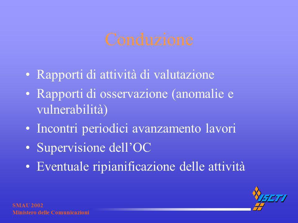 SMAU 2002 Ministero delle Comunicazioni Conduzione Rapporti di attività di valutazione Rapporti di osservazione (anomalie e vulnerabilità) Incontri pe