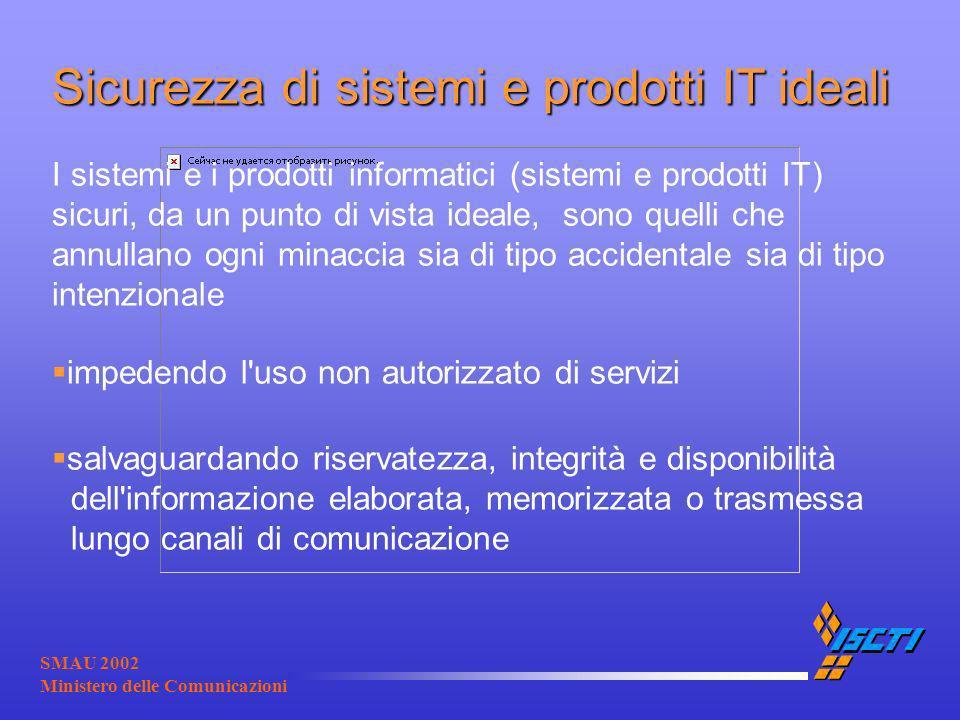 SMAU 2002 Ministero delle Comunicazioni Sicurezza di sistemi e prodotti IT ideali I sistemi e i prodotti informatici (sistemi e prodotti IT) sicuri, d