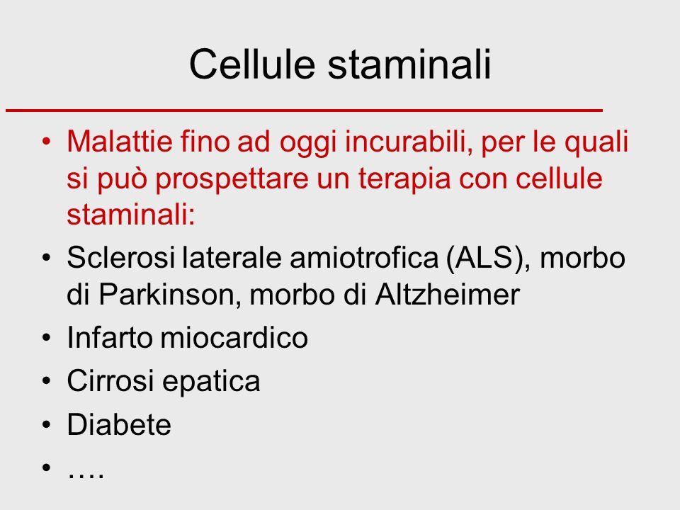Cellule staminali Malattie fino ad oggi incurabili, per le quali si può prospettare un terapia con cellule staminali: Sclerosi laterale amiotrofica (A