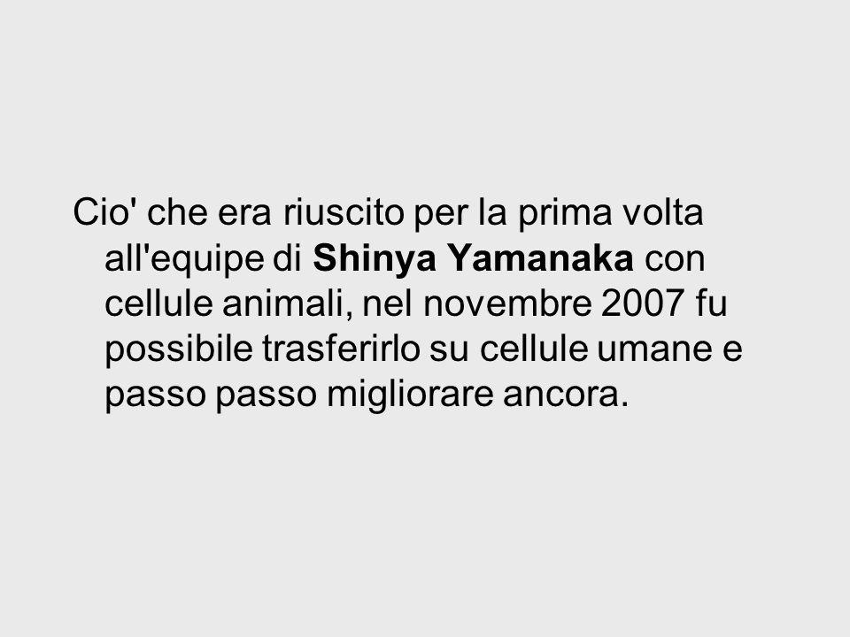 Cio' che era riuscito per la prima volta all'equipe di Shinya Yamanaka con cellule animali, nel novembre 2007 fu possibile trasferirlo su cellule uman