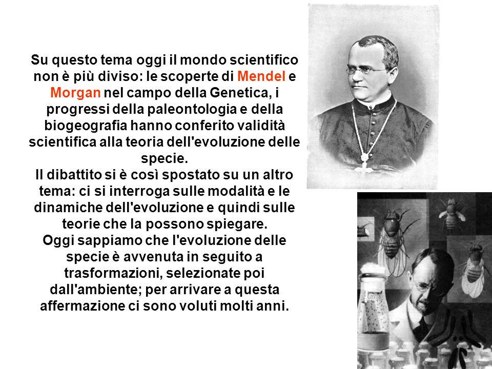 Su questo tema oggi il mondo scientifico non è più diviso: le scoperte di Mendel e Morgan nel campo della Genetica, i progressi della paleontologia e