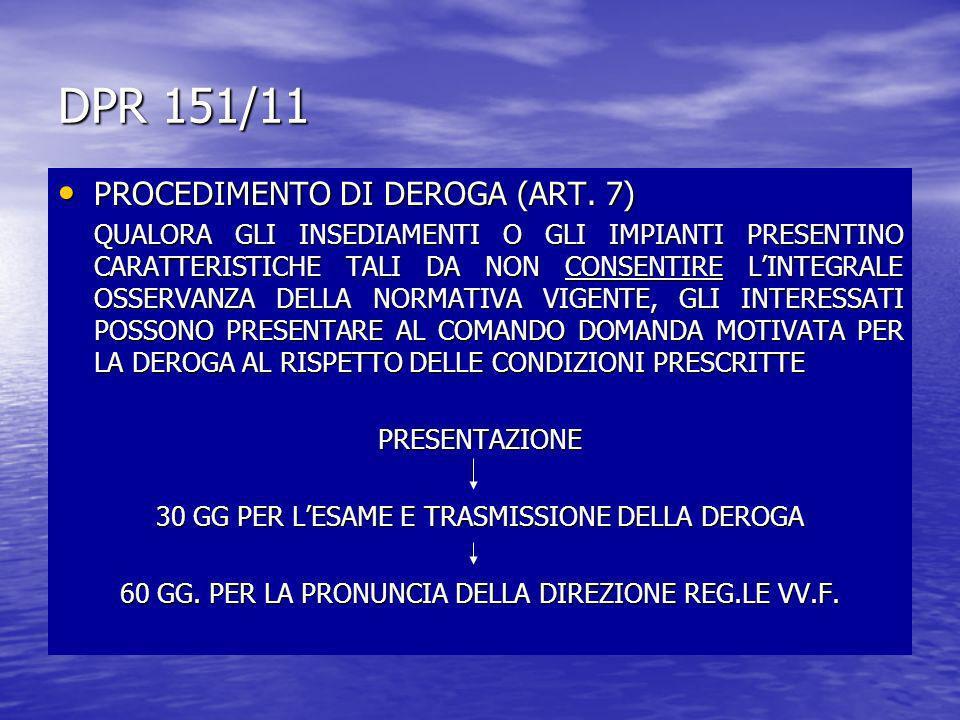 DPR 151/11 PROCEDIMENTO DI DEROGA (ART. 7) PROCEDIMENTO DI DEROGA (ART. 7) QUALORA GLI INSEDIAMENTI O GLI IMPIANTI PRESENTINO CARATTERISTICHE TALI DA