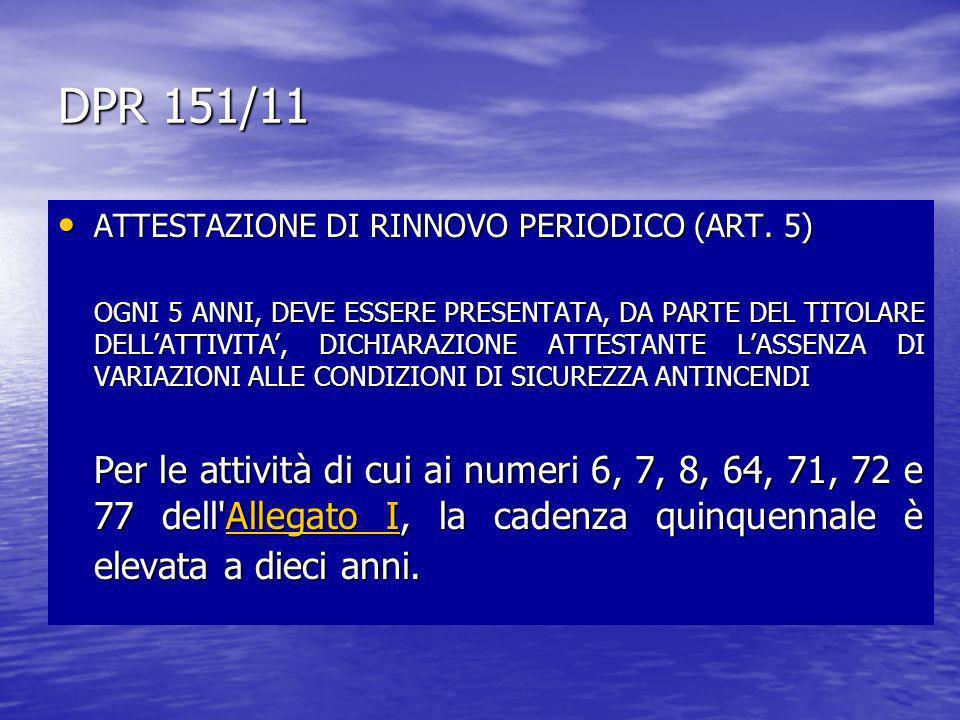 DPR 151/11 ATTESTAZIONE DI RINNOVO PERIODICO (ART. 5) ATTESTAZIONE DI RINNOVO PERIODICO (ART. 5) OGNI 5 ANNI, DEVE ESSERE PRESENTATA, DA PARTE DEL TIT