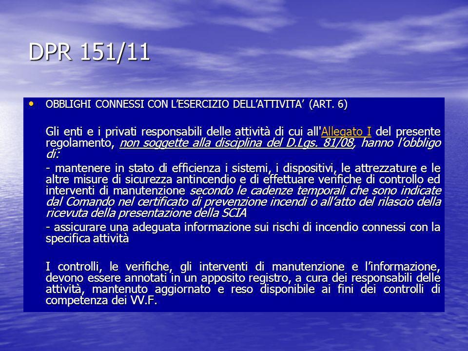DPR 151/11 OBBLIGHI CONNESSI CON LESERCIZIO DELLATTIVITA (ART. 6) OBBLIGHI CONNESSI CON LESERCIZIO DELLATTIVITA (ART. 6) Gli enti e i privati responsa