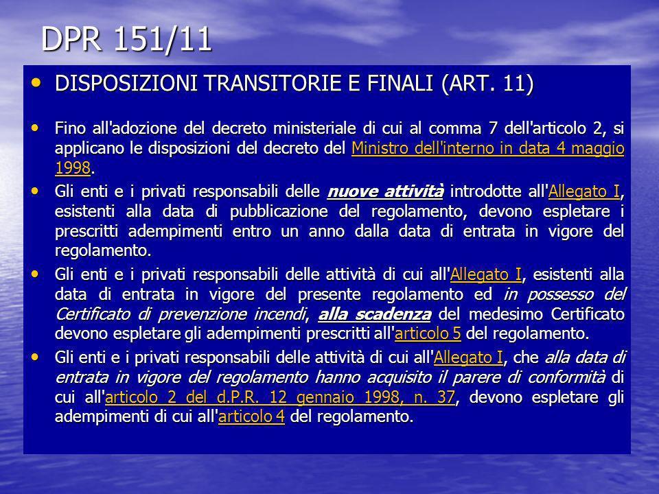 DPR 151/11 DISPOSIZIONI TRANSITORIE E FINALI (ART. 11) DISPOSIZIONI TRANSITORIE E FINALI (ART. 11) Fino all'adozione del decreto ministeriale di cui a