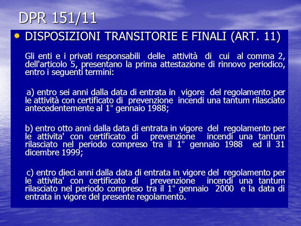DPR 151/11 DISPOSIZIONI TRANSITORIE E FINALI (ART. 11) DISPOSIZIONI TRANSITORIE E FINALI (ART. 11) Gli enti e i privati responsabili delle attività di
