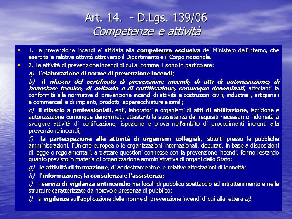 Art. 14. - D.Lgs. 139/06 Competenze e attività 1. La prevenzione incendi e' affidata alla competenza esclusiva del Ministero dell'interno, che esercit