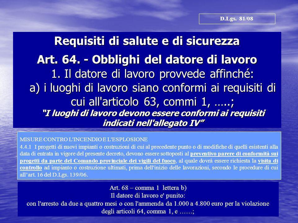Requisiti di salute e di sicurezza Art. 64. - Obblighi del datore di lavoro 1. Il datore di lavoro provvede affinché: a) i luoghi di lavoro siano conf