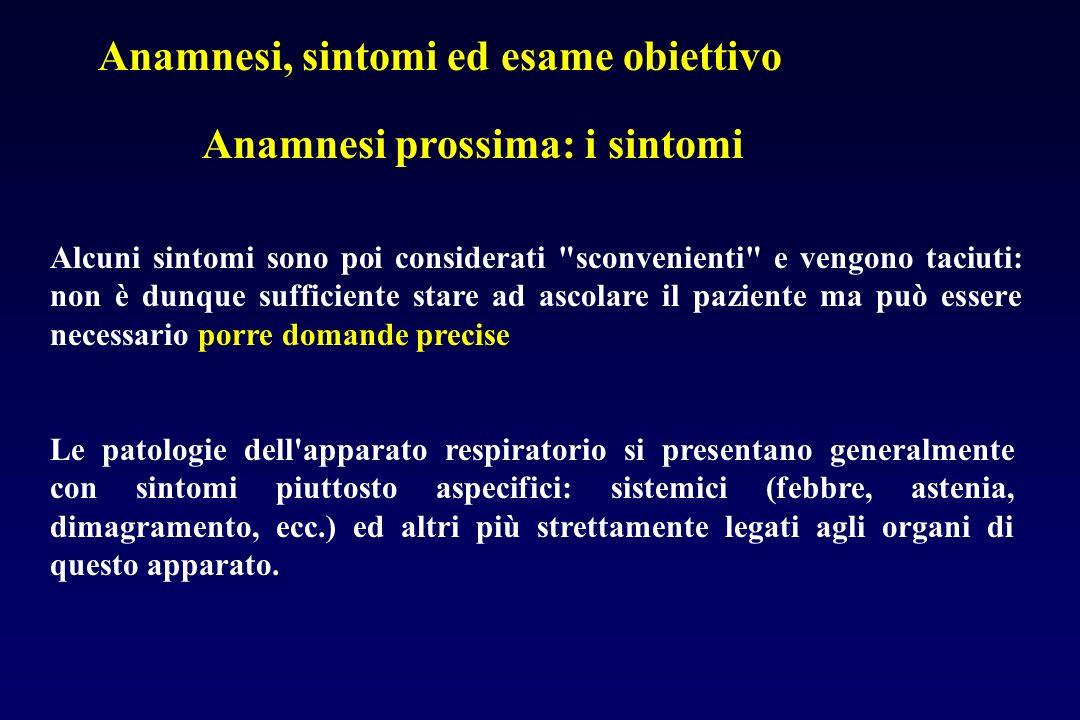 Anamnesi, sintomi ed esame obiettivo Anamnesi prossima: i sintomi Alcuni sintomi sono poi considerati