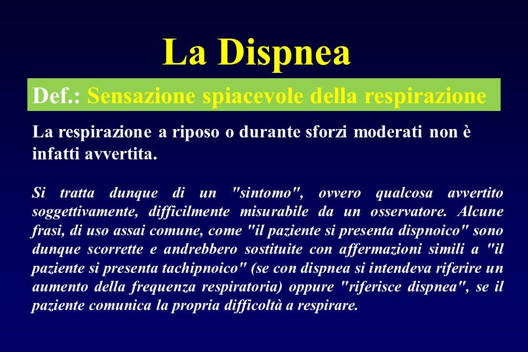 La Dispnea Def.: Sensazione spiacevole della respirazione La respirazione a riposo o durante sforzi moderati non è infatti avvertita. Si tratta dunque