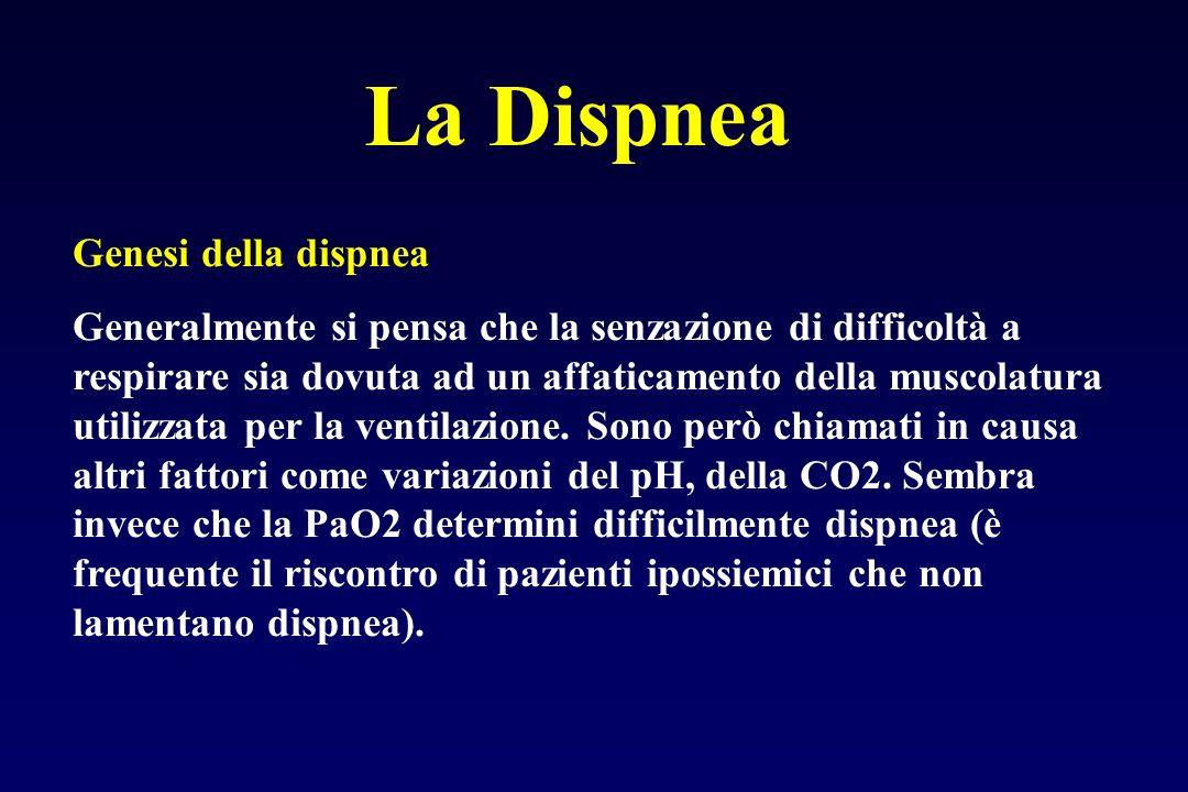 La Dispnea Genesi della dispnea Generalmente si pensa che la senzazione di difficoltà a respirare sia dovuta ad un affaticamento della muscolatura utilizzata per la ventilazione.