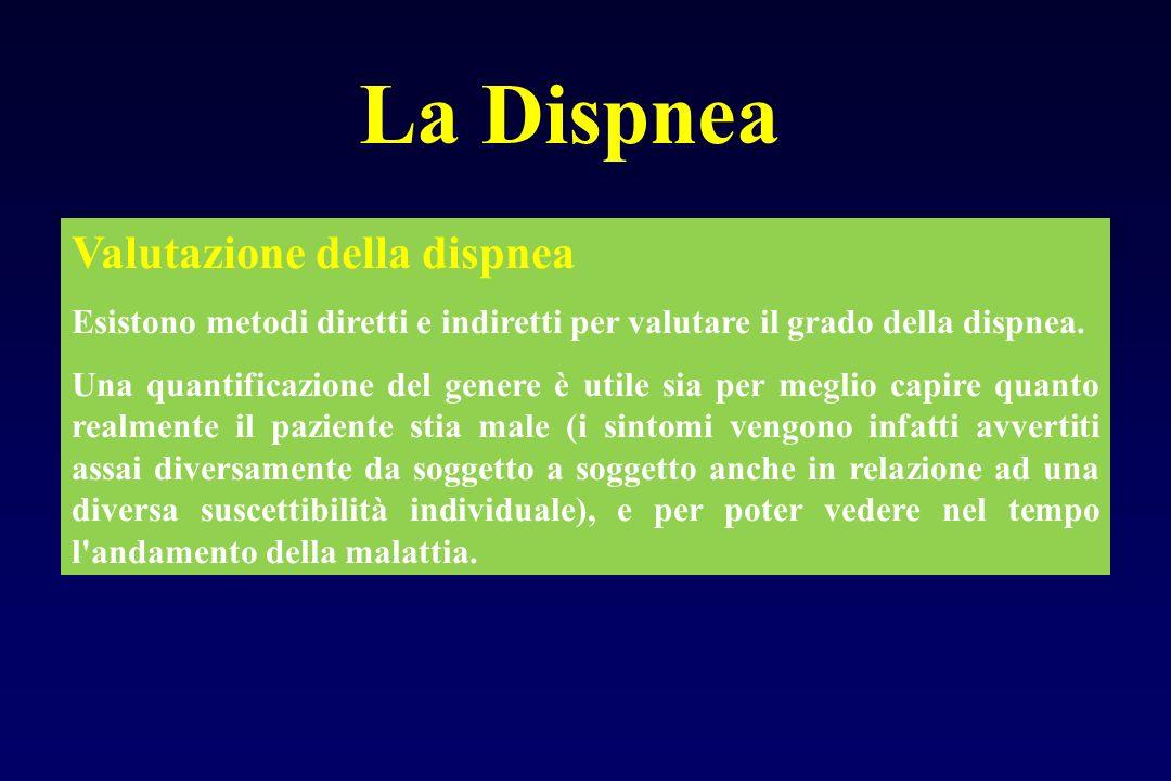 La Dispnea Valutazione della dispnea Esistono metodi diretti e indiretti per valutare il grado della dispnea. Una quantificazione del genere è utile s