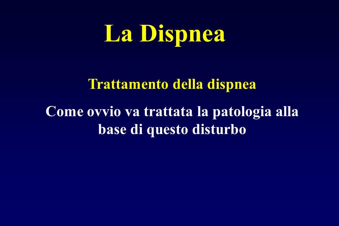 La Dispnea Trattamento della dispnea Come ovvio va trattata la patologia alla base di questo disturbo