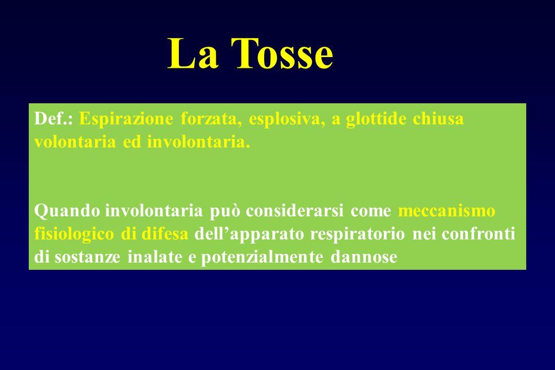 La Tosse Def.: Espirazione forzata, esplosiva, a glottide chiusa volontaria ed involontaria. Quando involontaria può considerarsi come meccanismo fisi