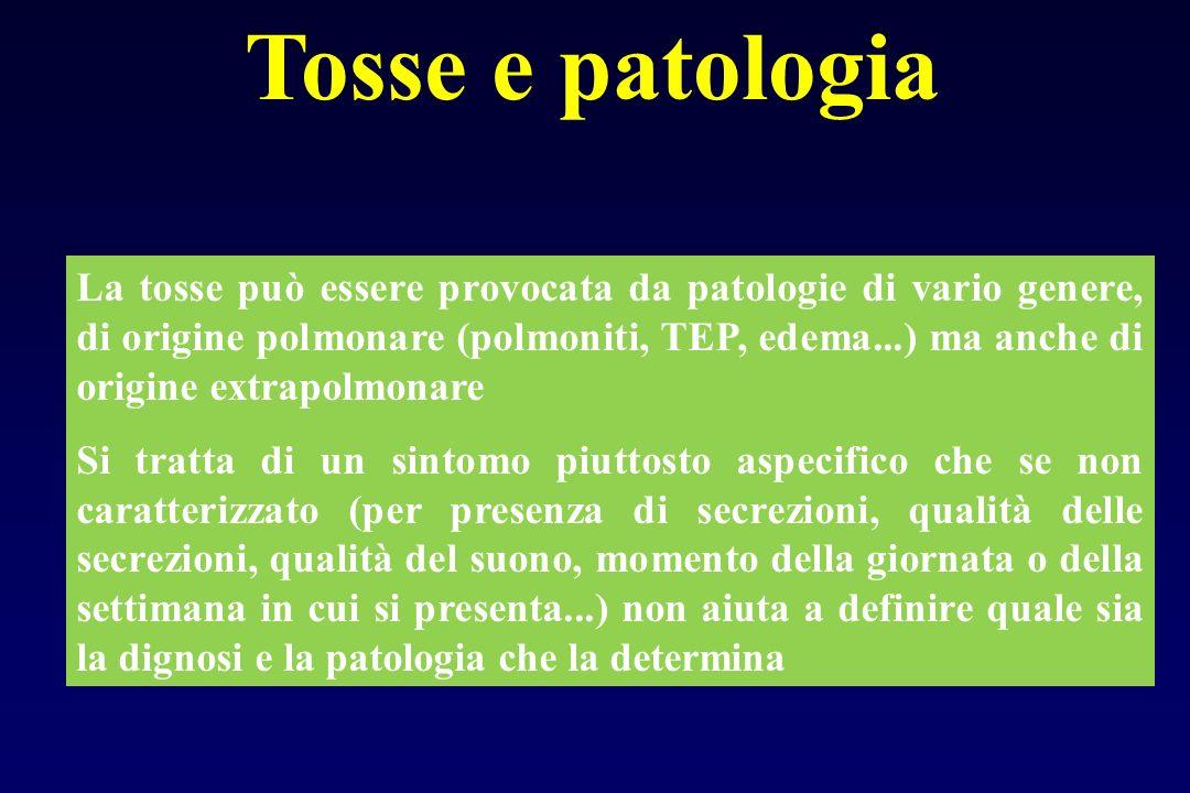 Tosse e patologia La tosse può essere provocata da patologie di vario genere, di origine polmonare (polmoniti, TEP, edema...) ma anche di origine extr
