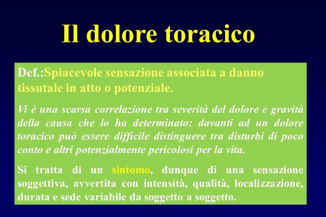 Il dolore toracico Def.:Spiacevole sensazione associata a danno tissutale in atto o potenziale. Vi è una scarsa correlazione tra severità del dolore e