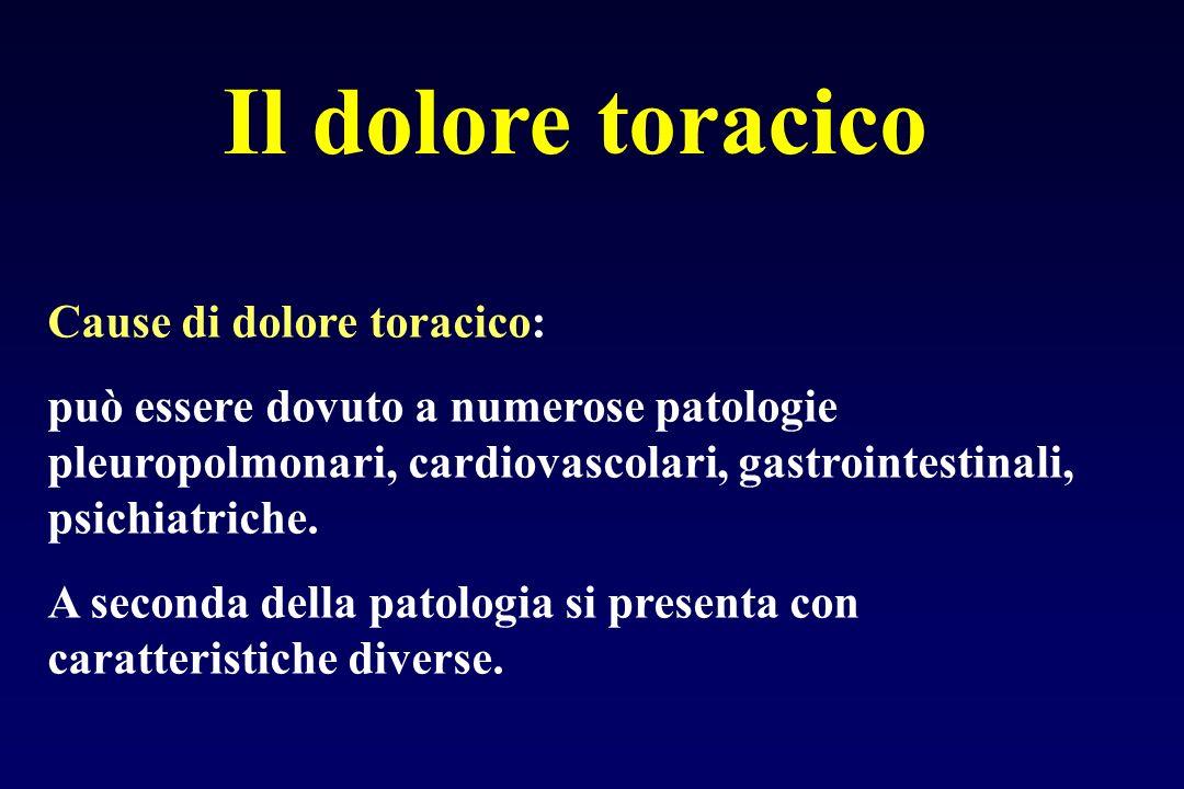Il dolore toracico Cause di dolore toracico: può essere dovuto a numerose patologie pleuropolmonari, cardiovascolari, gastrointestinali, psichiatriche