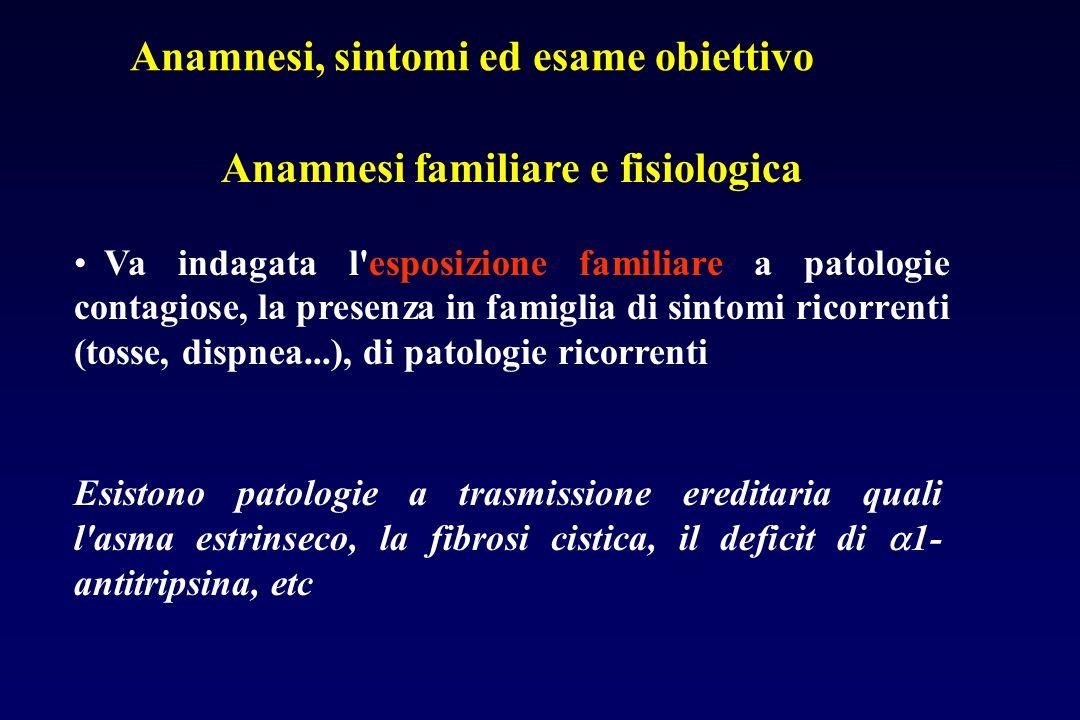 Anamnesi familiare e fisiologica Va indagata l'esposizione familiare a patologie contagiose, la presenza in famiglia di sintomi ricorrenti (tosse, dis